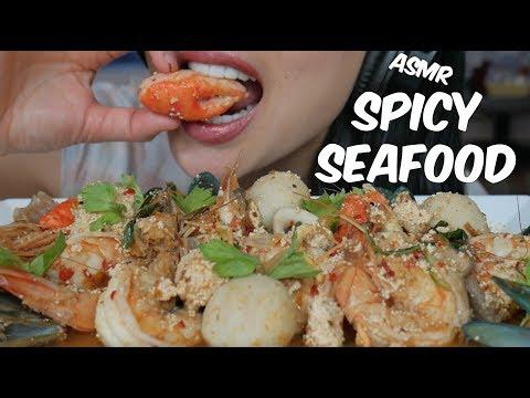 ASMR Thai Spicy SEAFOOD BOIL (EATING SOUNDS) NO TALKING | SAS-ASMR