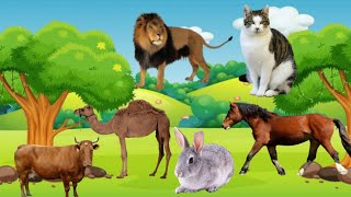 animals name | kid's education | cartoon animals | cat, dog, cow, deer, elephant, giraffe, lion