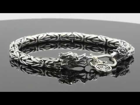"925 Sterling Silver Byzantine 5mm Link Mens Dragon Gothic Bikers 8"" Bracelet"