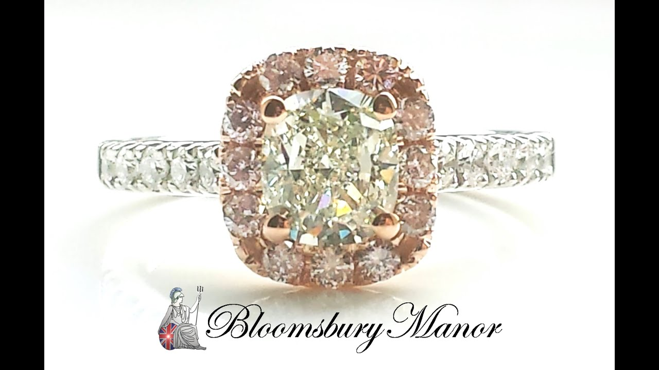 1 7ct natural green diamond engagement ring with natural pink