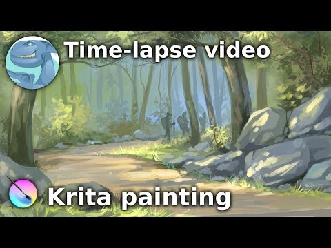 Forest landscape with stones. Speed painting with Krita.