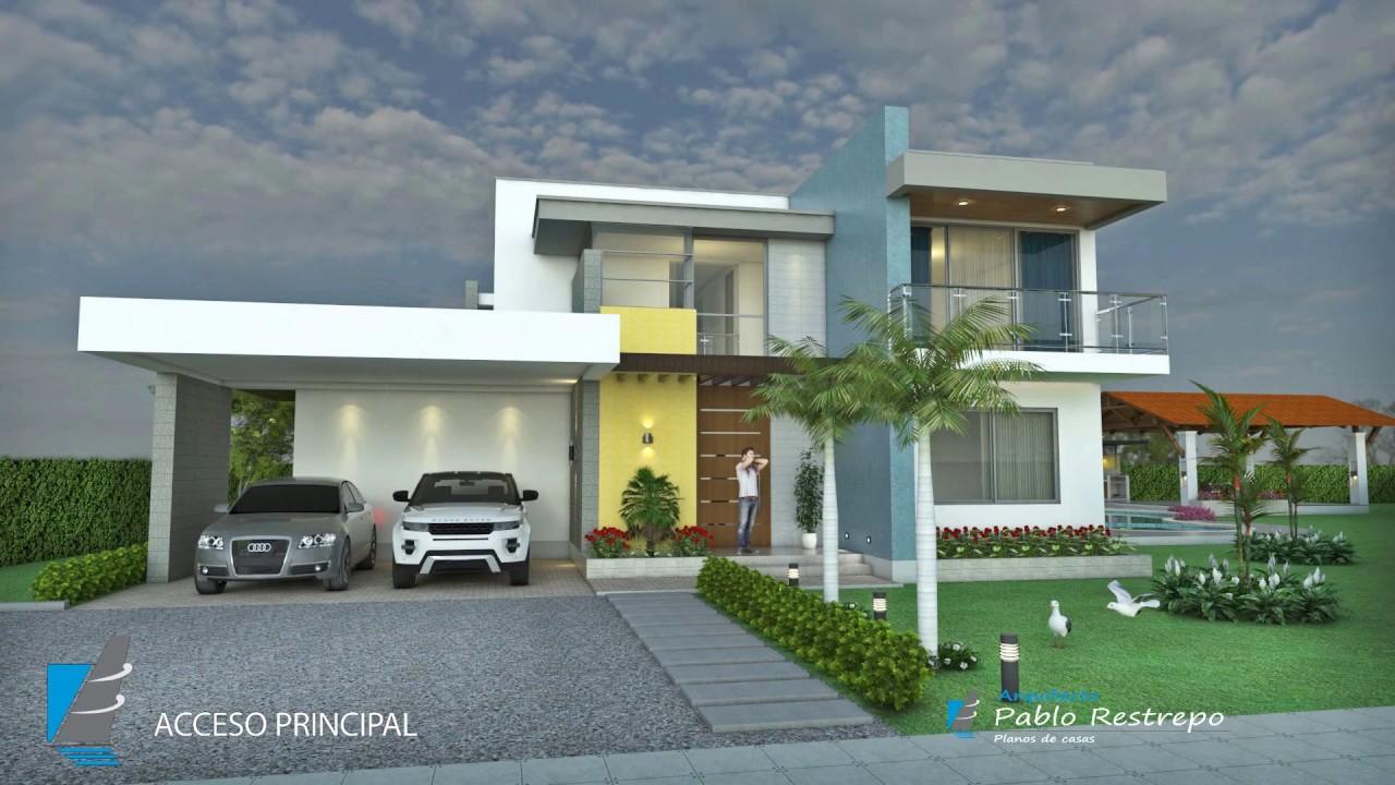 Plano de casa campestre moderna en dos pisos rea 351 m2 for Disenos de casas campestres modernas