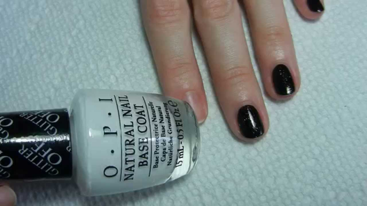 O.P.I Glitter Off Natural Nail Peel Off Base Coat Demo - YouTube