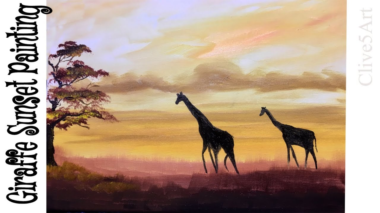 EASY SUNSET Giraffe Silhouette Acrylic Painting Tutorial ...