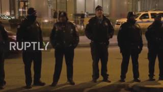 Anti-Trump protesters march outside Trump Tower, Chicago