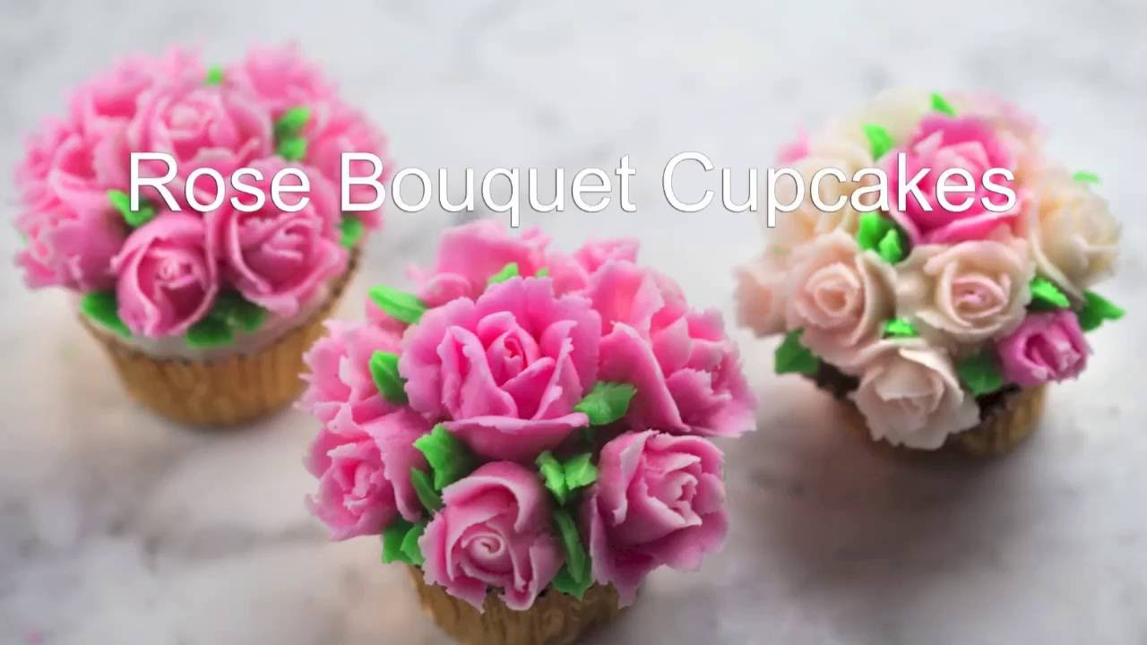 How To Make Buttercream Rose Cupcakes Youtube