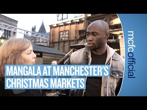 Eliaquim Mangala at the Manchester Christmas Markets