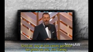 Repeat youtube video Jim Carrey - Globos de oro 2016 (subtitulado)