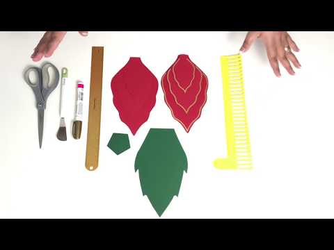 """How to Assemble a 16"""" Poinsettia Paper Flower with Gold outline"""