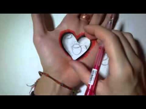 cara membuat 4 lukisan hati pada tangan