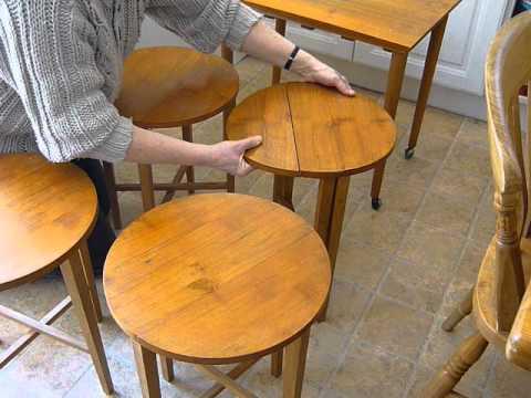 1950/1960s DANISH~POUL HUNDEVAD?~DESIGNER RETRO TEAK/BEECH NEST FOLDING TABLES UNDER TROLLEY CART