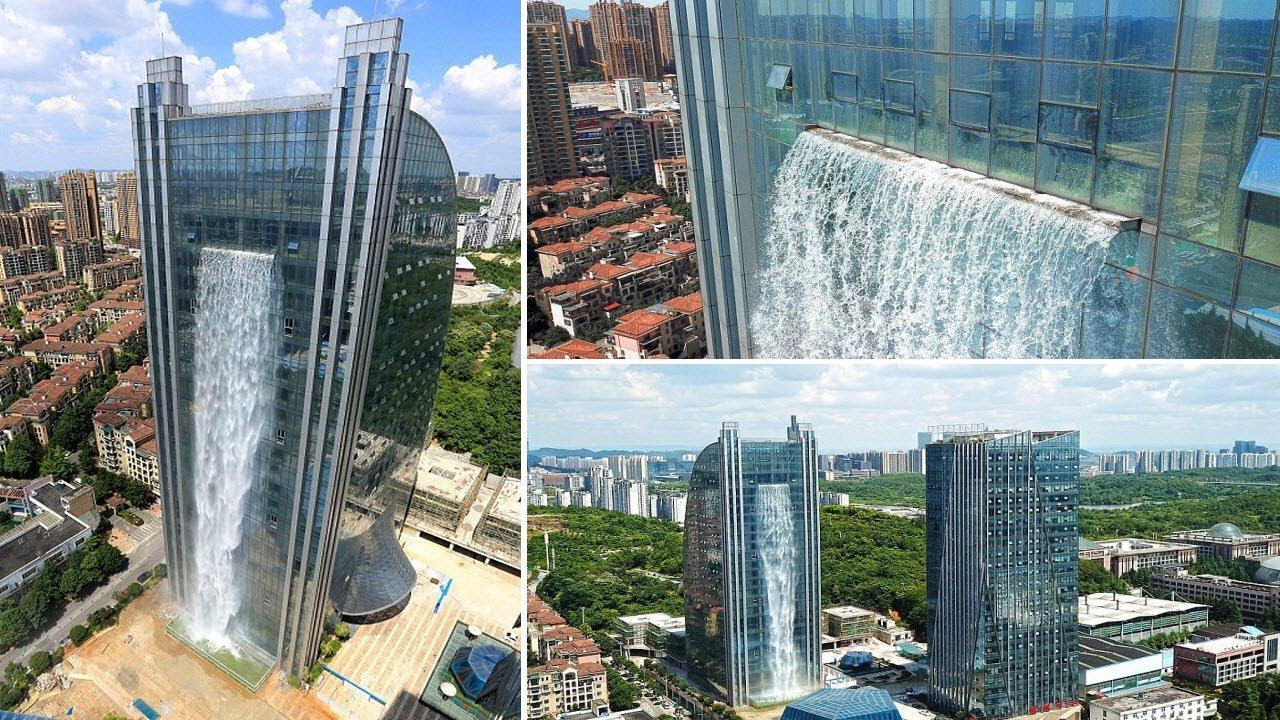 Αποτέλεσμα εικόνας για waterfall on a skyscraper china
