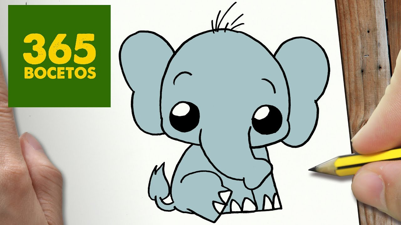 Como Dibujar Elefante Kawaii Paso A Paso Dibujos Kawaii Faciles