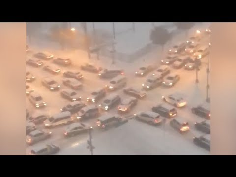 Snow storm backs up traffic for miles in Newark.