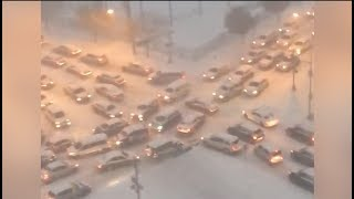 Snow storm backs up traffic for miles in Newark.