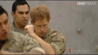 Prince Harry performs haka during day with NZ military