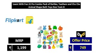 Learn With Fun 21 Pcs Combo Pack of Rattles Teethers and Chu Chu Animal Shape Bath Toys Non Toxic B