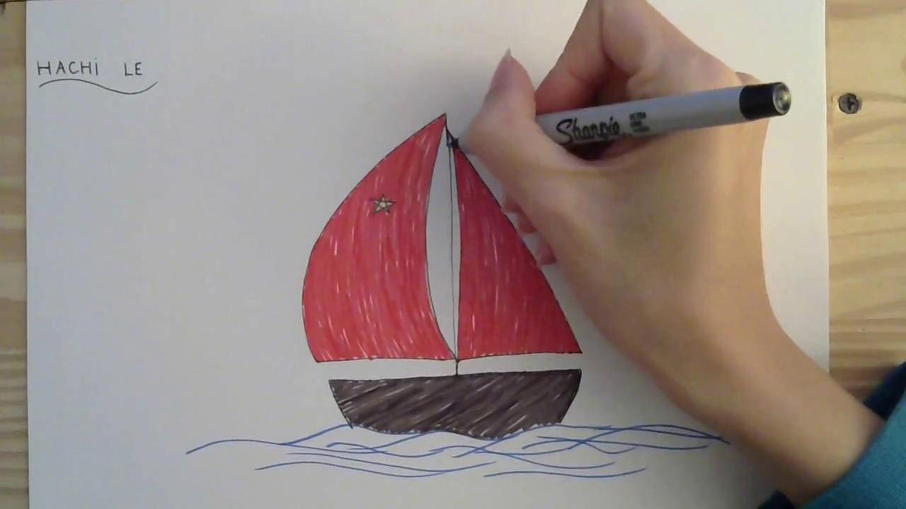Cách vẽ thuyền buồm – How to draw a boat: step by step tutorial