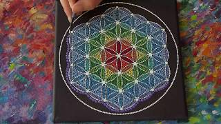 Flower of Life Sacred Geometry Dotillism Painting by Elspeth McLean