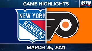 NHL Game Highlights   Rangers vs. Flyers – Mar. 25, 2021