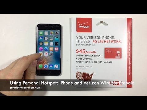 Using Personal Hotspot: iPhone and Verizon Wireless Prepaid