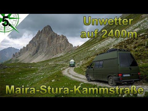 Unwetter auf 2400m Höhe   Offroad   Maira Stura Kammstraße West Alpen   VW T4 Syncro Camper   # 5.