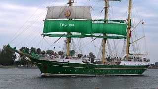 German (Sail 2015) Tall Ship: Alexander Von Humbolt II leaves Amsterdam