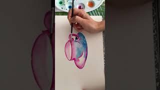 Смотреть Как нарисовать акварельный скетч. Чашечка 2 онлайн