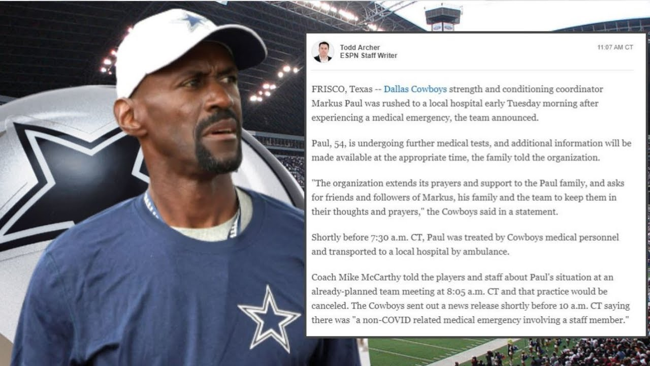 Cowboys cancel practice after coach Markus Paul rushed to hospital