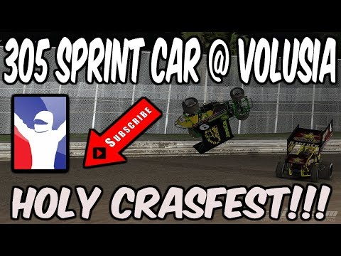 iRacing 305 Sprint car Volusia Speedway, Holy crash fest!