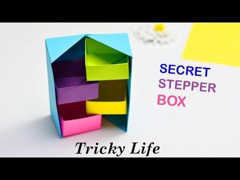 DIY- SECRET STEPPER BOX || COLOR PAPER ORIGAMI || PAPER CRAFT || TRICKY LIFE