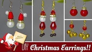 4 DIY Christmas earrings in minute 2019 | How to make Santa, jingle bells,bulb earrings | Beads art