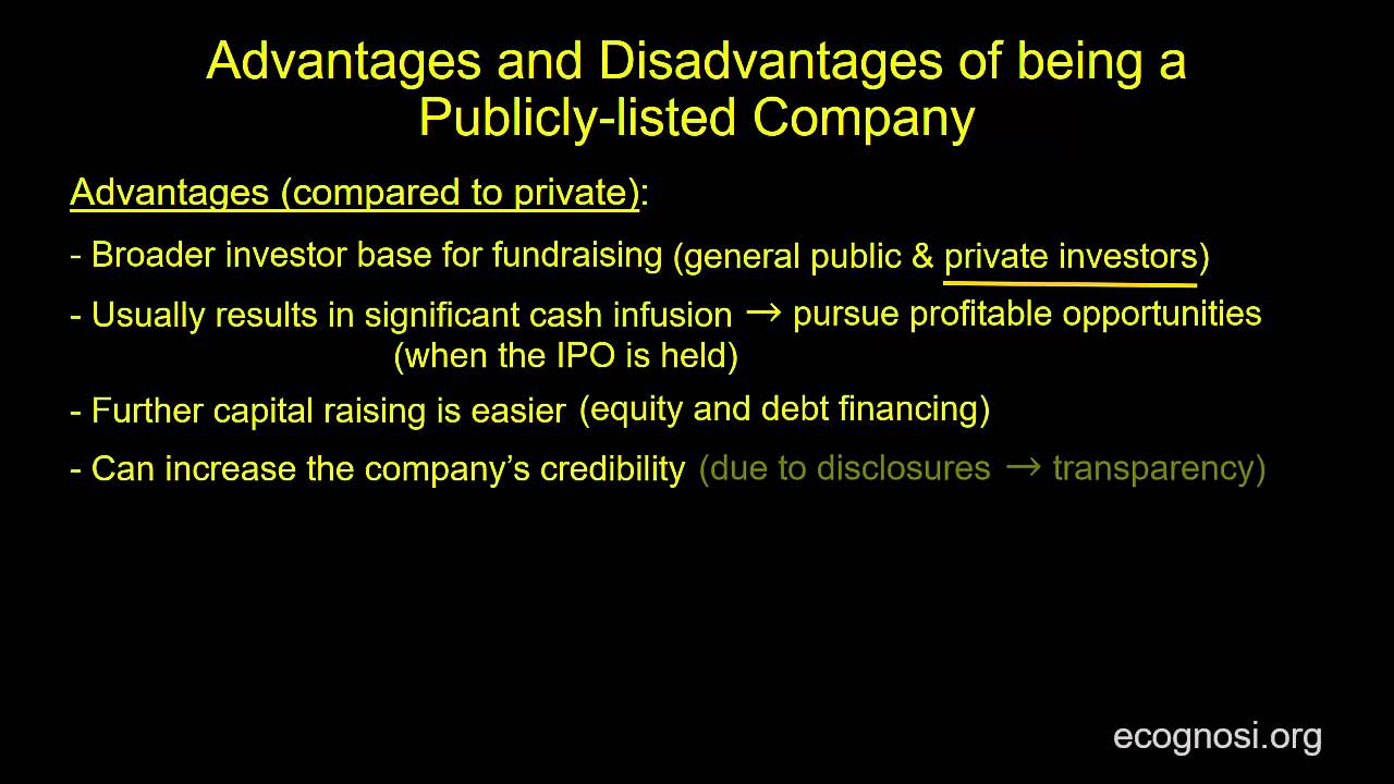 advantages and disadvantages of public and private companies 1 larger funds: the capital of a public company is generally raised from the public people belonging to all walks of life throughout the country can buy shares which are priced at low levels.