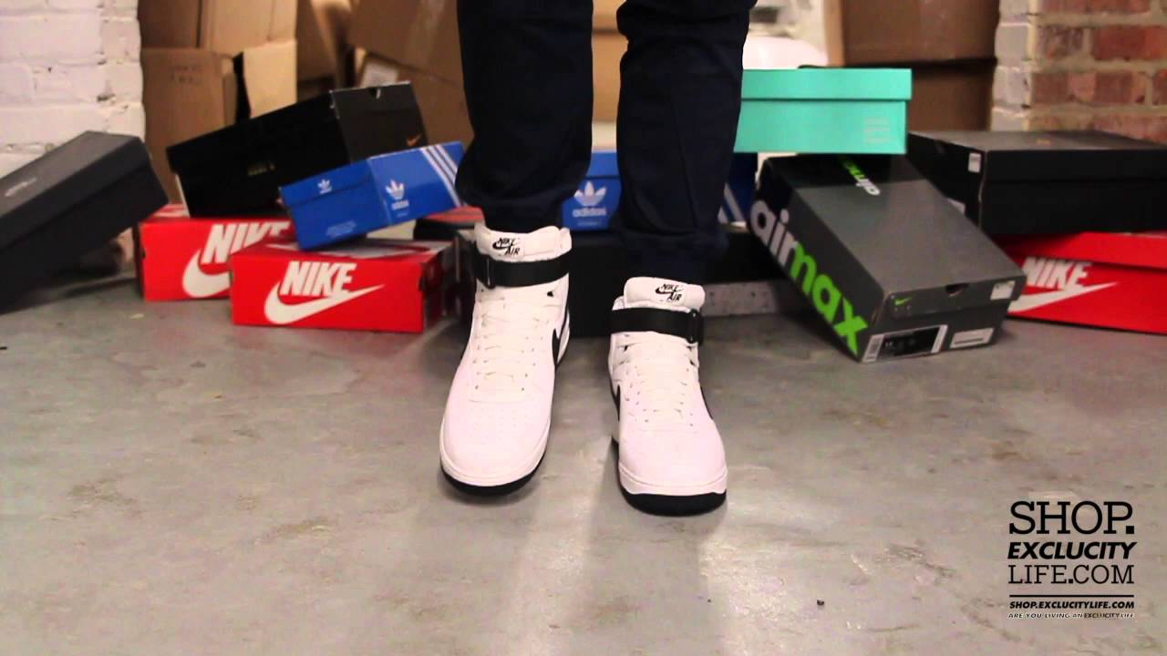 Nike Air Force 1 High Og White Black On Feet Video At Exclucity Youtube