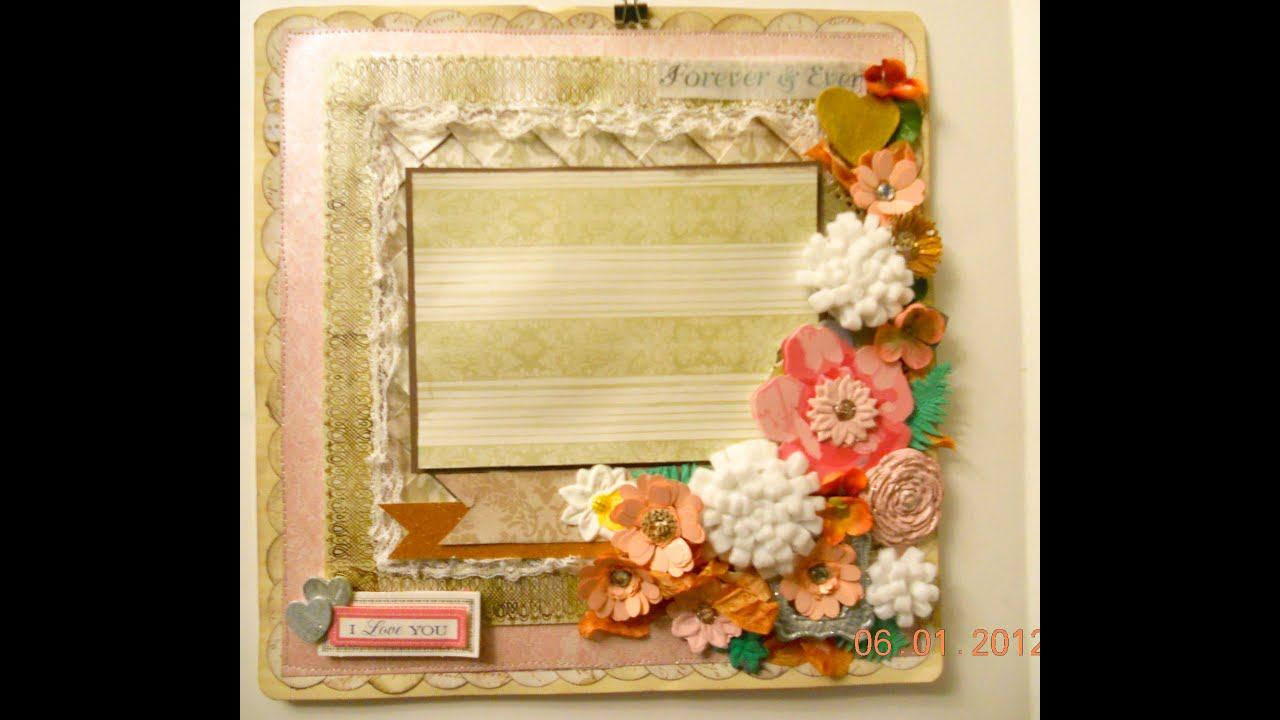 Papercraft I love you  another Scrapbook Layout using quill flowers