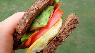 Pepperoni Egg & Tomato Paleo Bread Sandwich