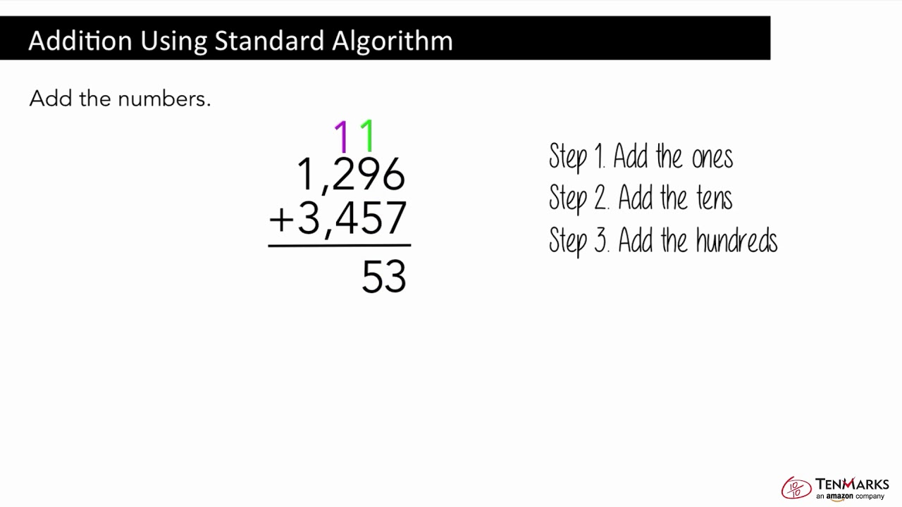 Addition Using Standard Algorithm: 4.NBT.4 - YouTube