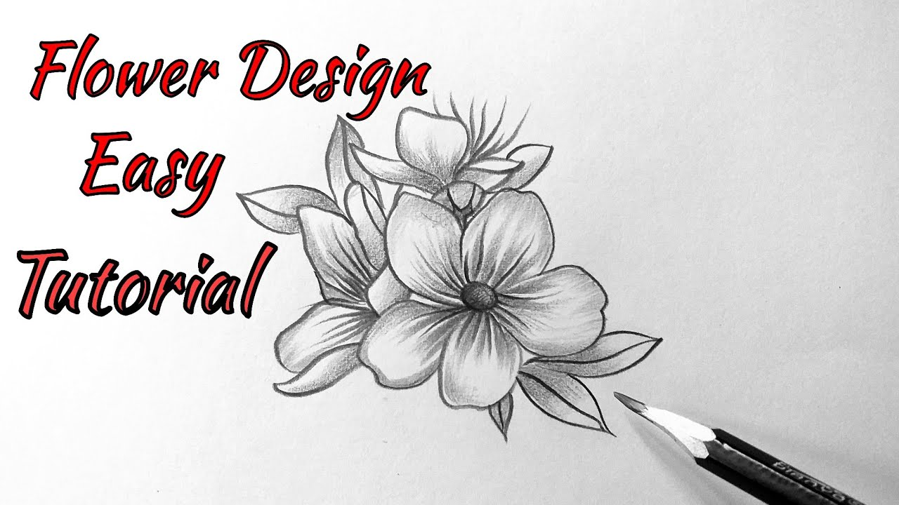 How To Draw A Flower Easy Step By Step Beautiful Flowers Drawing Easy With Pencil Tutorial Youtube