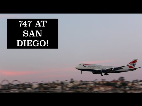 BRITISH AIRWAYS 747-400 LANDING LINDBERGH FIELD SAN DIEGO INTERNATIONAL AIRPORT~ 3/31/16
