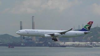 South African Airways Airbus A340 Landing in Hong Kong Airport. Flight SA286.  ZS-SXE
