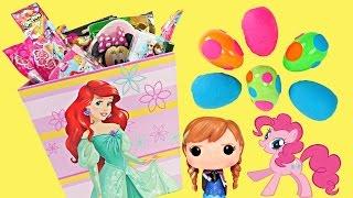 New Ariel Surprise Toy Easter Basket! Disney Frozen Play Doh Eggs My Little Pony Princess Shopkins