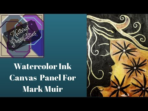 Abstract Watercolor Ink Canvas Panel For Mark Muir
