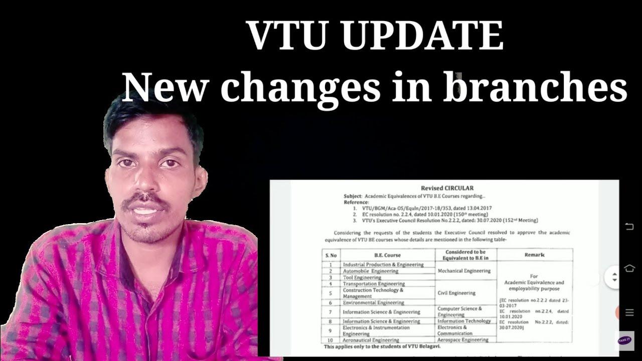 VTU UPDATE : NEW CHANGES IN VTU BRANCHES