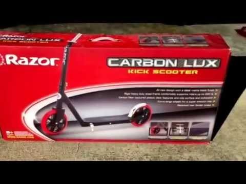 Razor Carbon LUX Adult sized Kick Scooter reviewed by Mr Tims.  220 lbs capacity.