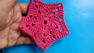 Вязание крючком  Урок 223 Звезда Crochet Star motif