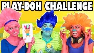 Trolls Play Doh Challenge Poppy vs Branch vs DJ Suki. DisneyToysFan