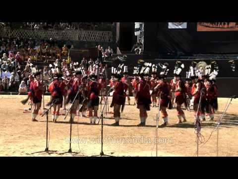 Sumi or Sema Naga dance troupes performing, Nagaland