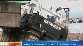 NTG: Barko, Sumadsad Sa Dalampasigan Sa Batangas Sa Kasagsagan Ng Bagyong Glenda