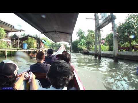 Thrilling Boat  Racing on canal in Bangkok タイの水上ボート 展望動画