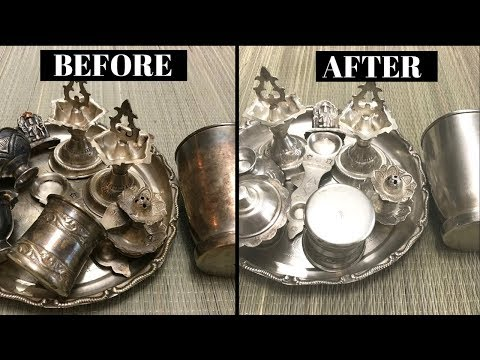How to Clean/ Polish Silver Pooja items at Home|| Clean Silver items/things || Polish silver at home